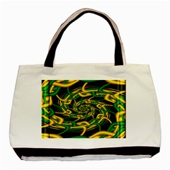 Green Yellow Fractal Vortex In 3d Glass Basic Tote Bag