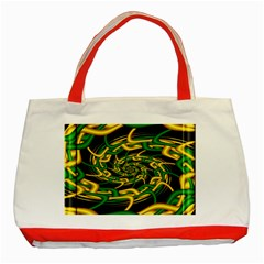 Green Yellow Fractal Vortex In 3d Glass Classic Tote Bag (Red)