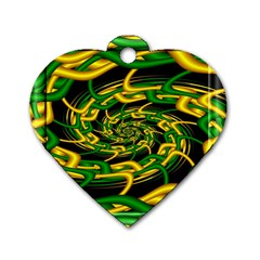 Green Yellow Fractal Vortex In 3d Glass Dog Tag Heart (one Side)