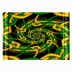Green Yellow Fractal Vortex In 3d Glass Large Glasses Cloth