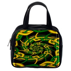 Green Yellow Fractal Vortex In 3d Glass Classic Handbags (one Side)