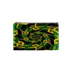 Green Yellow Fractal Vortex In 3d Glass Cosmetic Bag (small)
