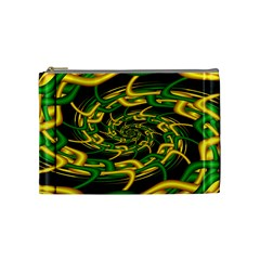 Green Yellow Fractal Vortex In 3d Glass Cosmetic Bag (medium)