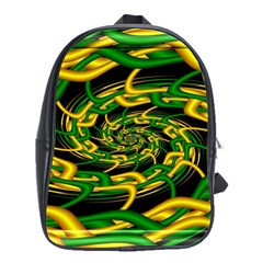 Green Yellow Fractal Vortex In 3d Glass School Bags(large)