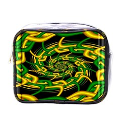 Green Yellow Fractal Vortex In 3d Glass Mini Toiletries Bags