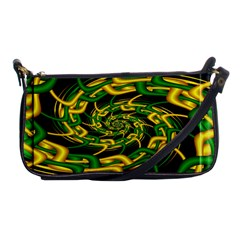 Green Yellow Fractal Vortex In 3d Glass Shoulder Clutch Bags