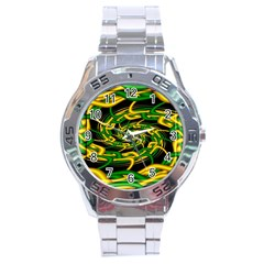 Green Yellow Fractal Vortex In 3d Glass Stainless Steel Analogue Watch
