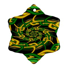 Green Yellow Fractal Vortex In 3d Glass Snowflake Ornament (two Sides)
