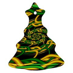 Green Yellow Fractal Vortex In 3d Glass Christmas Tree Ornament (two Sides)