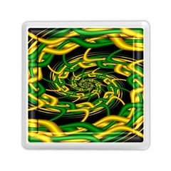 Green Yellow Fractal Vortex In 3d Glass Memory Card Reader (square)