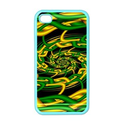 Green Yellow Fractal Vortex In 3d Glass Apple Iphone 4 Case (color)