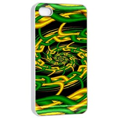Green Yellow Fractal Vortex In 3d Glass Apple Iphone 4/4s Seamless Case (white)