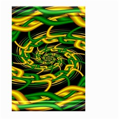 Green Yellow Fractal Vortex In 3d Glass Large Garden Flag (Two Sides)