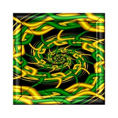 Green Yellow Fractal Vortex In 3d Glass Acrylic Tangram Puzzle (6  x 6 )