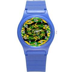 Green Yellow Fractal Vortex In 3d Glass Round Plastic Sport Watch (s)
