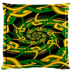 Green Yellow Fractal Vortex In 3d Glass Large Cushion Case (One Side)