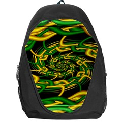 Green Yellow Fractal Vortex In 3d Glass Backpack Bag