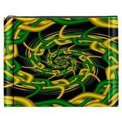 Green Yellow Fractal Vortex In 3d Glass Cosmetic Bag (XXXL)