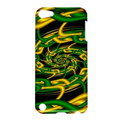 Green Yellow Fractal Vortex In 3d Glass Apple iPod Touch 5 Hardshell Case