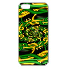 Green Yellow Fractal Vortex In 3d Glass Apple Seamless iPhone 5 Case (Clear)