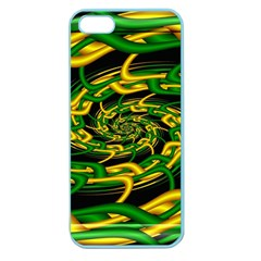 Green Yellow Fractal Vortex In 3d Glass Apple Seamless Iphone 5 Case (color)