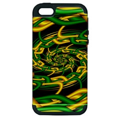 Green Yellow Fractal Vortex In 3d Glass Apple iPhone 5 Hardshell Case (PC+Silicone)