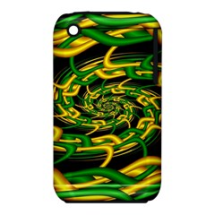 Green Yellow Fractal Vortex In 3d Glass iPhone 3S/3GS