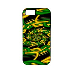 Green Yellow Fractal Vortex In 3d Glass Apple iPhone 5 Classic Hardshell Case (PC+Silicone)