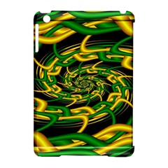 Green Yellow Fractal Vortex In 3d Glass Apple iPad Mini Hardshell Case (Compatible with Smart Cover)