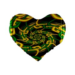 Green Yellow Fractal Vortex In 3d Glass Standard 16  Premium Heart Shape Cushions