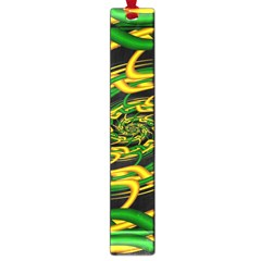 Green Yellow Fractal Vortex In 3d Glass Large Book Marks