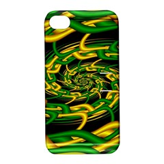 Green Yellow Fractal Vortex In 3d Glass Apple iPhone 4/4S Hardshell Case with Stand