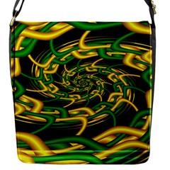 Green Yellow Fractal Vortex In 3d Glass Flap Messenger Bag (S)