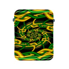 Green Yellow Fractal Vortex In 3d Glass Apple iPad 2/3/4 Protective Soft Cases