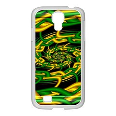 Green Yellow Fractal Vortex In 3d Glass Samsung GALAXY S4 I9500/ I9505 Case (White)