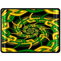 Green Yellow Fractal Vortex In 3d Glass Double Sided Fleece Blanket (large)