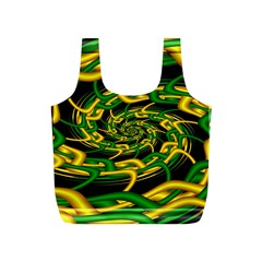 Green Yellow Fractal Vortex In 3d Glass Full Print Recycle Bags (S)