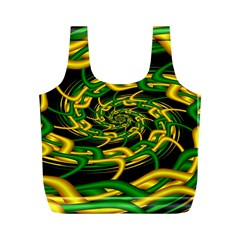Green Yellow Fractal Vortex In 3d Glass Full Print Recycle Bags (M)