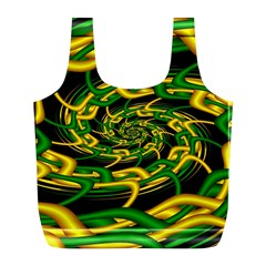 Green Yellow Fractal Vortex In 3d Glass Full Print Recycle Bags (L)