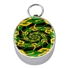 Green Yellow Fractal Vortex In 3d Glass Mini Silver Compasses