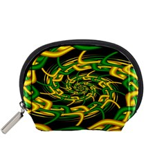 Green Yellow Fractal Vortex In 3d Glass Accessory Pouches (Small)