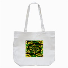 Green Yellow Fractal Vortex In 3d Glass Tote Bag (White)