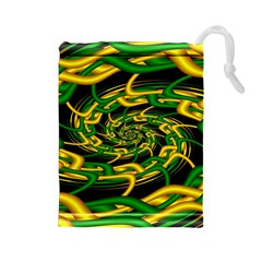 Green Yellow Fractal Vortex In 3d Glass Drawstring Pouches (Large)
