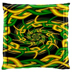 Green Yellow Fractal Vortex In 3d Glass Large Flano Cushion Case (Two Sides)