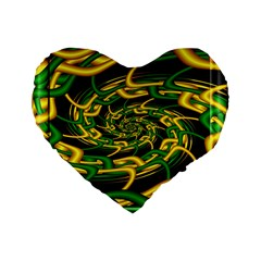Green Yellow Fractal Vortex In 3d Glass Standard 16  Premium Flano Heart Shape Cushions