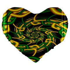 Green Yellow Fractal Vortex In 3d Glass Large 19  Premium Flano Heart Shape Cushions
