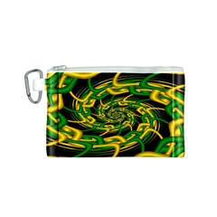 Green Yellow Fractal Vortex In 3d Glass Canvas Cosmetic Bag (S)