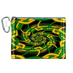 Green Yellow Fractal Vortex In 3d Glass Canvas Cosmetic Bag (xl)