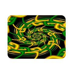 Green Yellow Fractal Vortex In 3d Glass Double Sided Flano Blanket (mini)