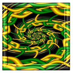 Green Yellow Fractal Vortex In 3d Glass Large Satin Scarf (square)